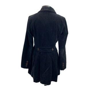 Guess Black Velvet Pleated Back Pea Coat M